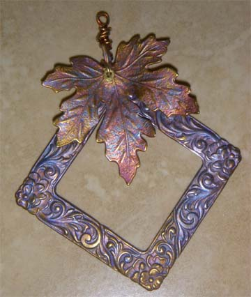 Leafy Home Patina Pendant with Alcohol Ink Overlay - Jewelry Making