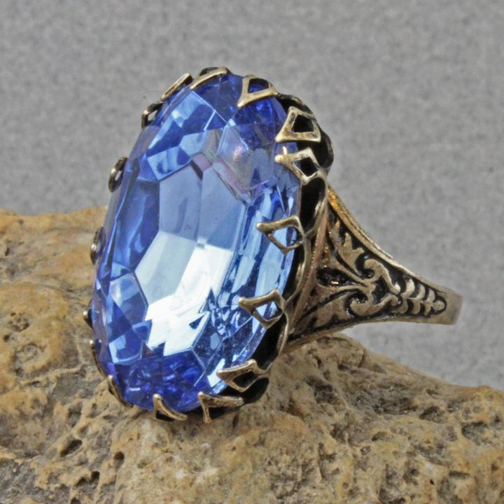antique fashion promotion blue stone black item red rings wedding bronze finger royal big jewelry silver plated vintage