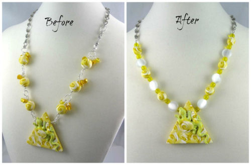 Air Lizard necklace before after