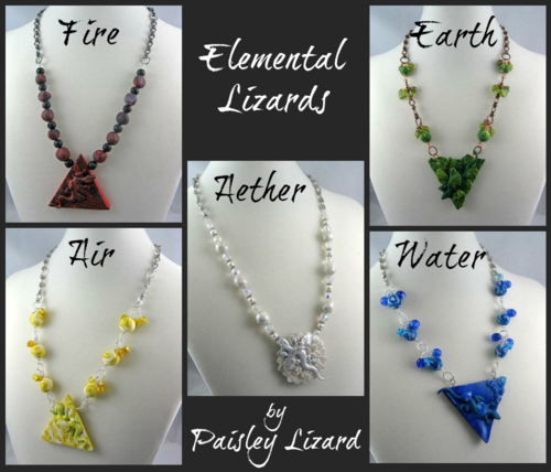 Elemental Lizard necklace collage